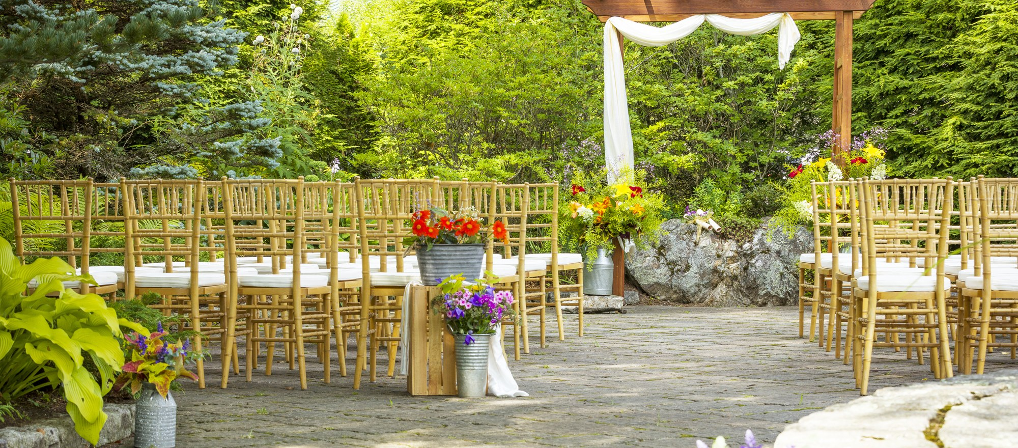 Chairs set up for wedding ceremony at Lake Morey in New Hampshire