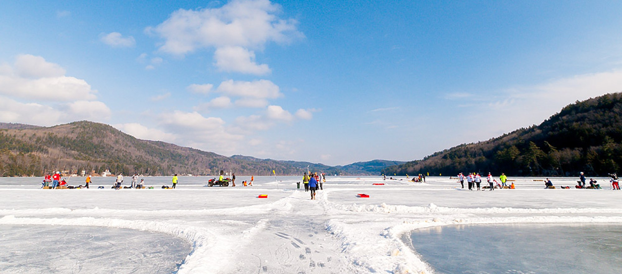 Hockey rinks on frozen Lake Morey