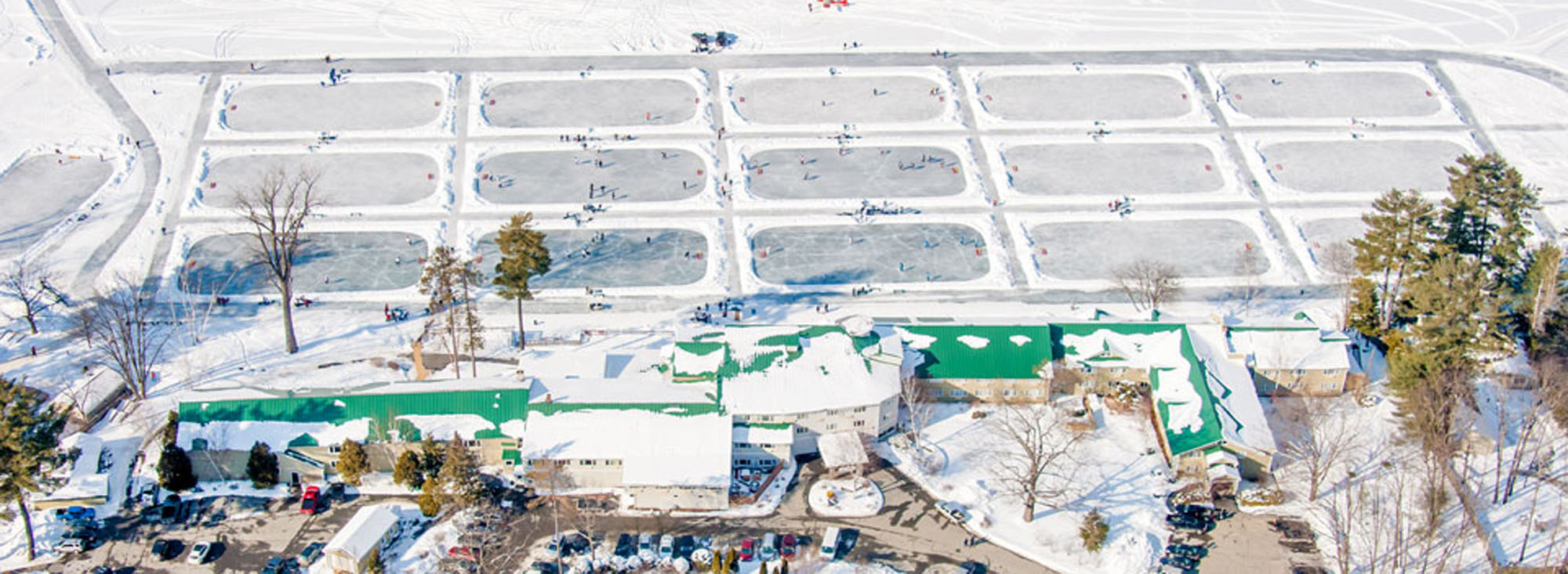 Aerial View of Lake Morey Resort Pond Hockey Rinks