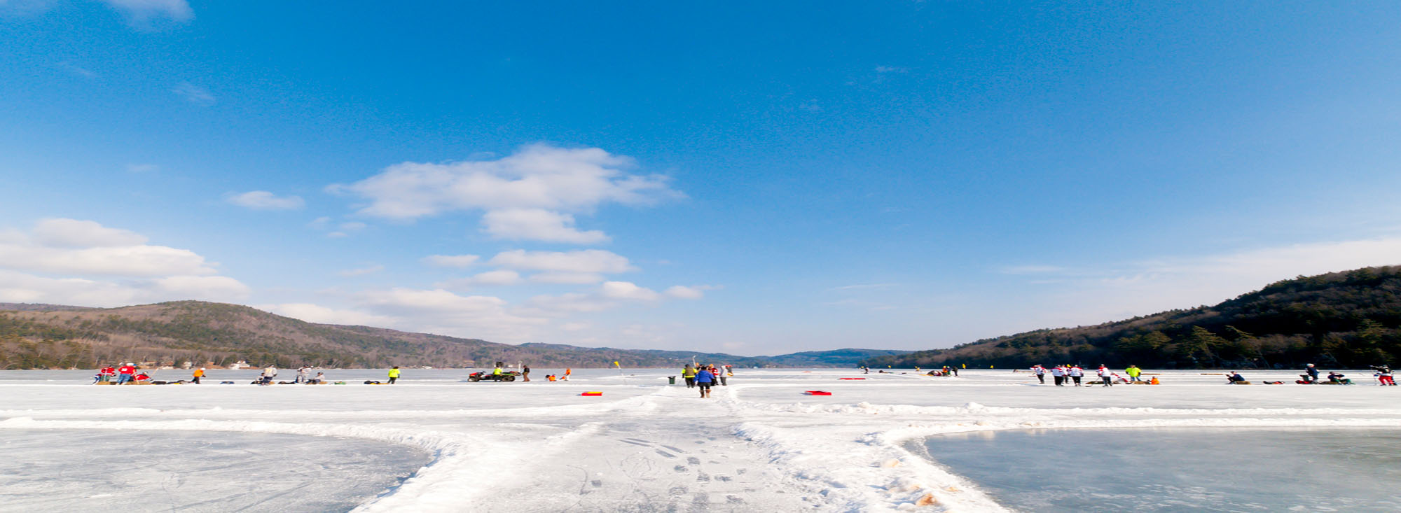 Panoramic of Lake Morey Resort Pond Hockey Rinks