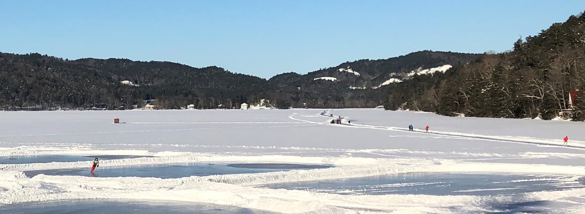 Winter Skate Trail on Lake Morey