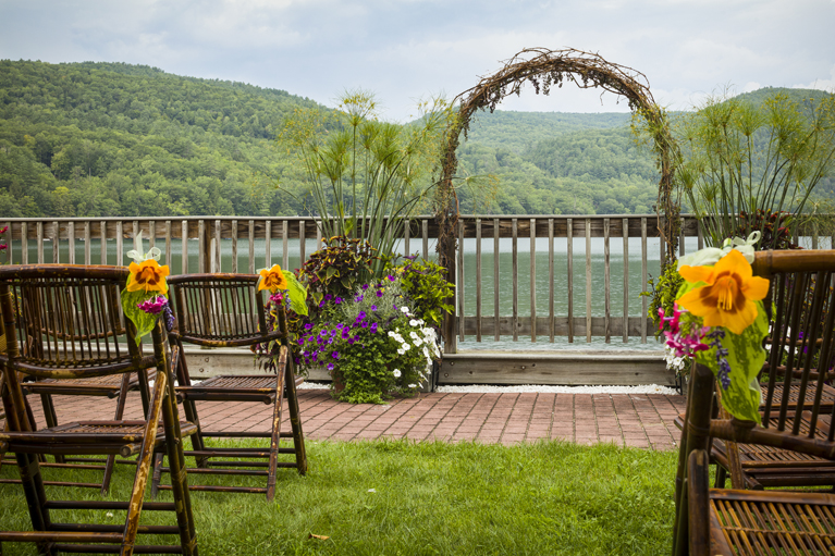 Lakefront Patio - Ceremony - Close Up Arbor