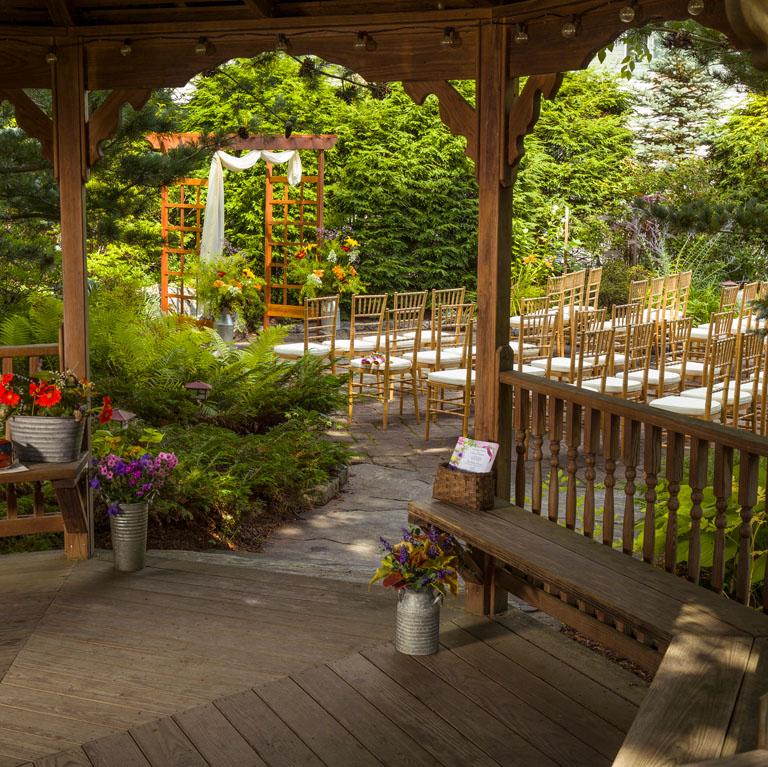 Gazebo view Mapleview Garden Summer Wedding Vermont